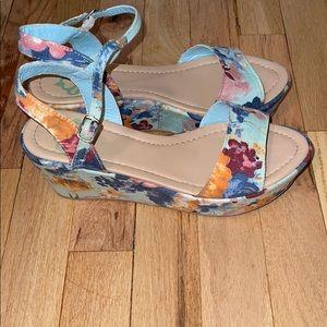 Denim floral platform sandal